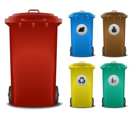 afvalbak: illustratie recycling bakken met verschillende kleuren en symbolen Stock Illustratie