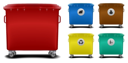 space rubbish: illustration recycling bins with different colors and symbols