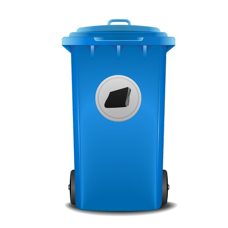 illustration of a blue recycling bin with paper symbol Vector