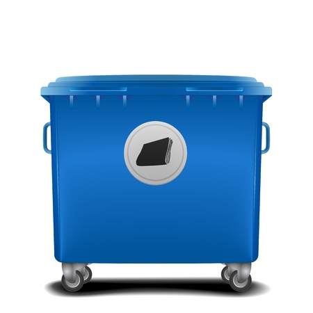 space rubbish: illustration of a blue recycling bin with paper symbol