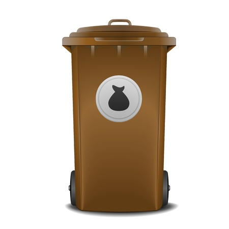 waste basket: illustration of a brown recycling bin with trash symbol Illustration