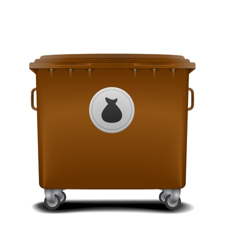 throwing paper: illustration of a brown recycling bin with trash symbol Illustration