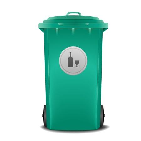 recycle bin: ilustración de un contenedor de reciclaje de vidrio verde con el símbolo Vectores