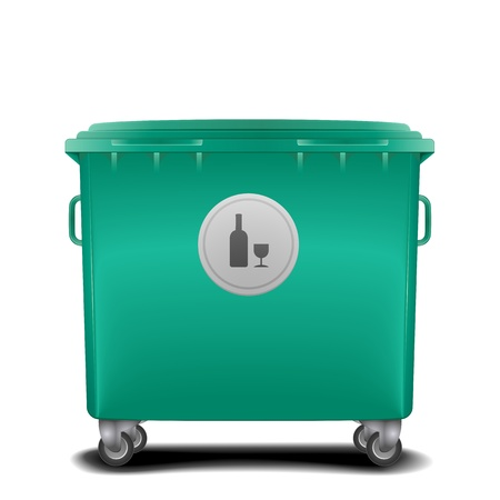trashcan: illustration of a green recycling bin with glass symbol