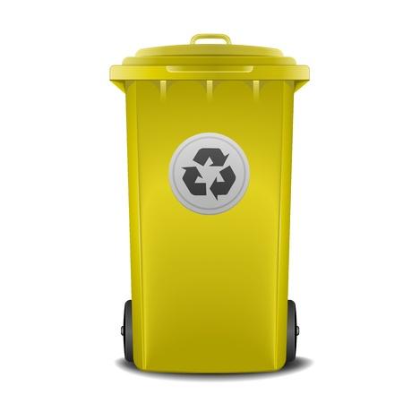 illustratie van een gele prullenbak Vector Illustratie