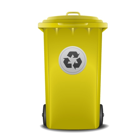 illustration of a yellow recycling bin Vector