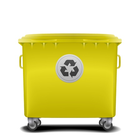 space rubbish: illustration of a yellow recycling bin