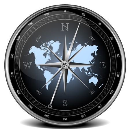 map compass: illustration of a compass with blue color scheme Stock Photo
