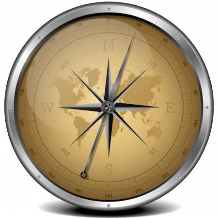 illustration of a compass with sand color scheme Stock Illustration - 13807407