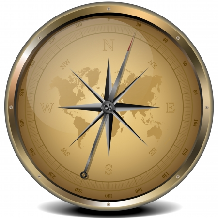illustration of a golden compass with sand color scheme Reklamní fotografie