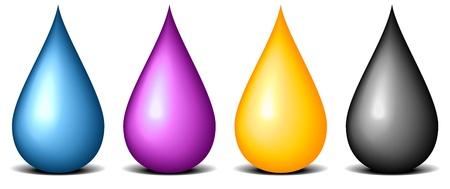 ilustración de gotas de color CMYK, símbolo de la pintura y la impresión