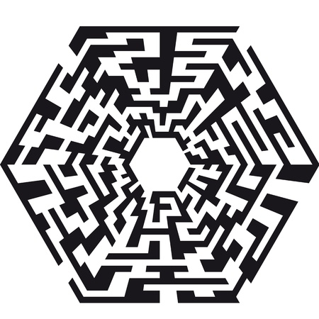 problem solved: illustration of an abstract maze with the shape of an hexaeder