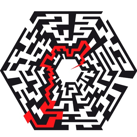 illustration of an abstract maze with the shape of an hexaeder and a red arrow leading to the center Vector
