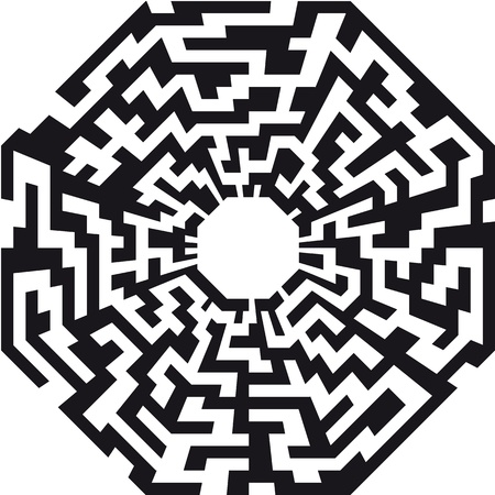 solved maze puzzle: illustration of an abstract maze with the shape of an octaeder