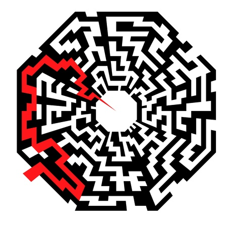 illustration of an abstract maze with the shape of an octaeder and a red arrow leading to the center Vector