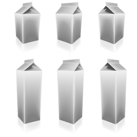 liter: illustration of a set of blank milk packs with different sizes and angles Illustration