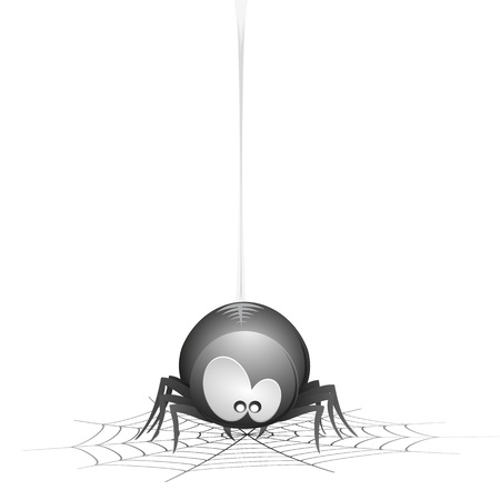 illustration of a cute cartoon style spider hanging on a cobweb Vector