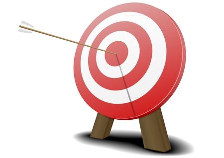 hitting: Illustrazione di un bersaglio rosso con una freccia che colpisce il centro