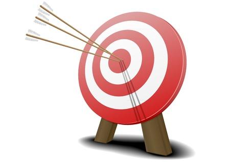 doelstelling: illustratie van een rode doel met drie pijlen raken van het centrum Stock Illustratie