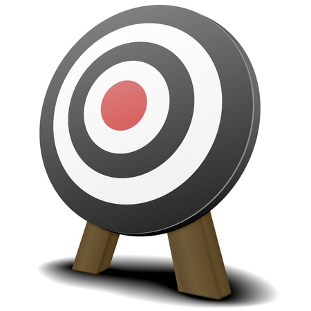 illustration of a black and white target with a red center