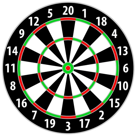 dart board: illustration of a dart board isolated on white background Illustration