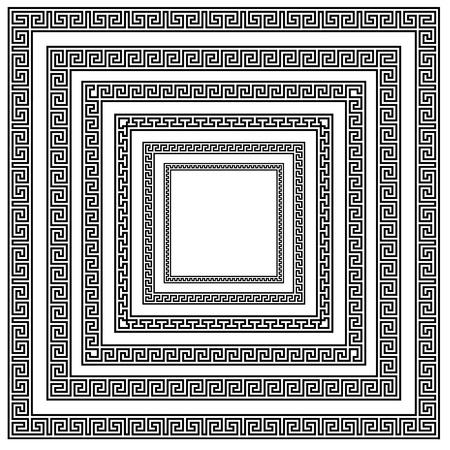 meander: illustration of different greek ornament patterns