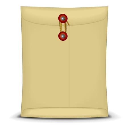 manila: illustration of an envelope closed by string Illustration