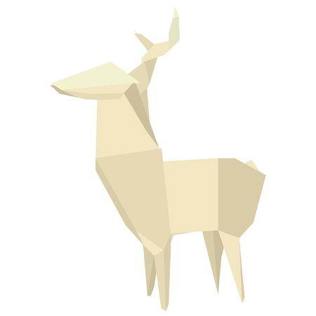 asia deer: illustration of an origami deer