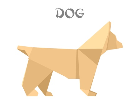 illustration of an origami dog Vector