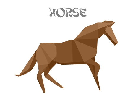 illustration of an origami horse Vector