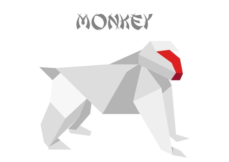 illustration of an origami monkey Vector