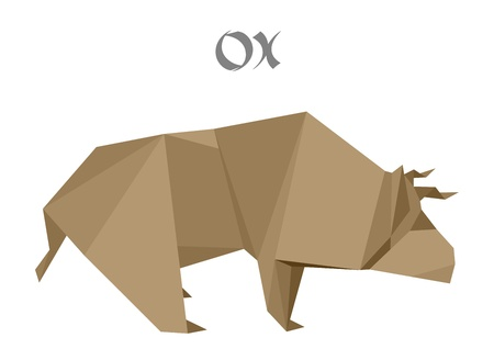modern art: illustration of an origami ox Illustration