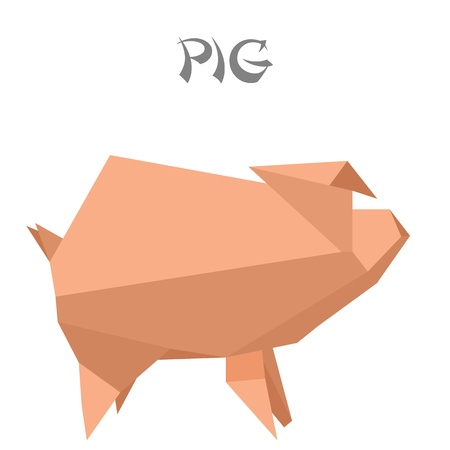 illustration of an origami pig Vector
