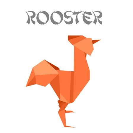 illustration of an origami rooster Vector