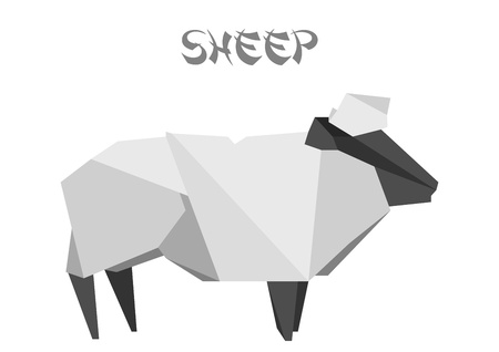 illustration of an origami sheep Vector