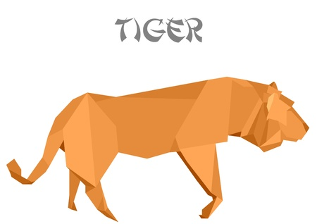 illustration of an origami tiger Vector