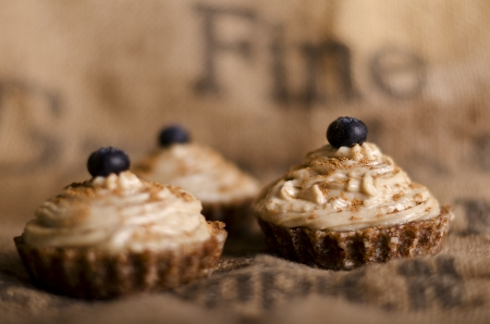 raw food: raw food cupcakes with nutcream and blueberry on top, vegan ingredients only