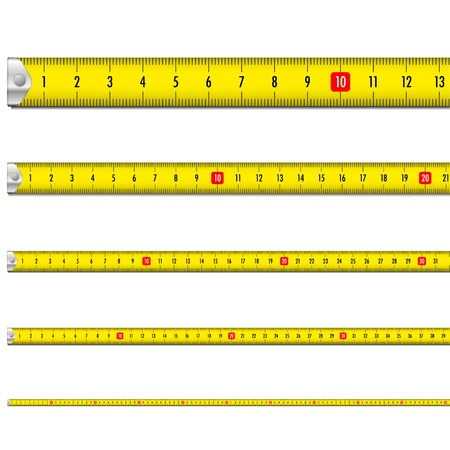tape measure: illustration of a yellow measure tape