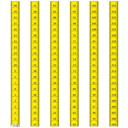 measure: illustration of a yellow measure tape used by tailors