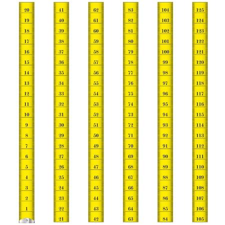 metro medir: ilustración de una cinta métrica amarilla usada por los sastres