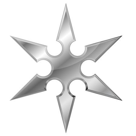 ilustración de un shuriken de metal ninjas Ilustración de vector