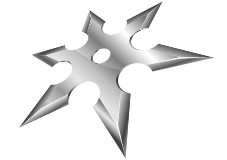 throwing knife: illustration of a metal ninja shuriken with perspective