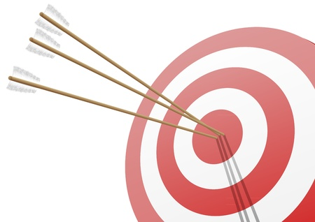 archery target: illustration of a red target with three arrows hitting the center Illustration