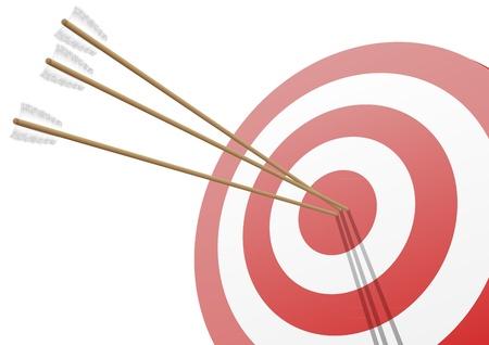 hitting: illustrazione di un obiettivo rosso con tre frecce che colpisce il centro Vettoriali
