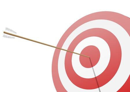 bow and arrow: illustration of a red target with an arrow hitting the center Illustration