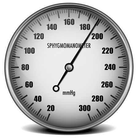 sphygmomanometer: illustration of a sphygmomanometer for measuring blood pressure Stock Photo