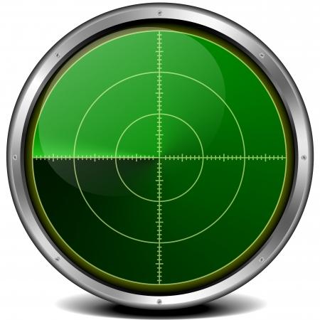 detect: illustration of a metal framed blank radar screen Stock Photo