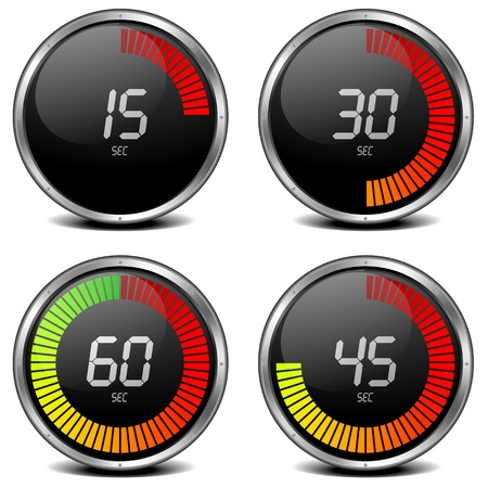 chronometer: illustration of a digital stop watch