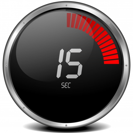 illustration of a metal framed digital stop watch showing 15s illustration