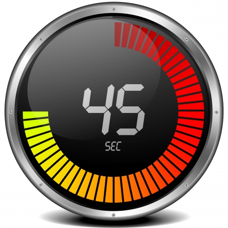 round: illustration of a metal framed digital stop watch showing 45s Stock Photo